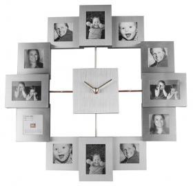 Horloge photos (argentée, 30 cm)