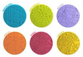 6 Sous-verres City Maps